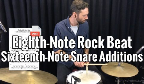 Eighth-Note Rock Beat Sixteenth-Note Snare Additions