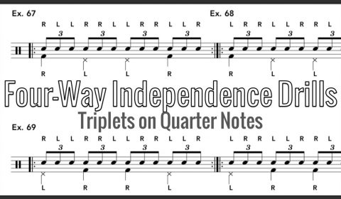 Four-Way Independence Drills – Triplets on Quarter Notes