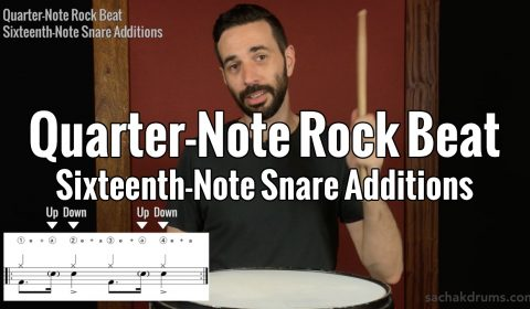 Quarter-Note Rock Beat Sixteenth-Note Snare Additions
